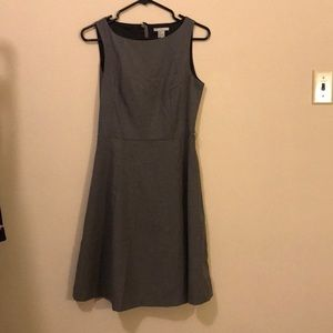 Classic grey fit and flare dress with boat neck